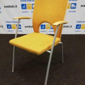 Švediški lt. Kinnarps Yin oranžinė kėdė su beržo fanera Švedija