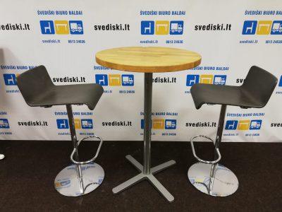 Švediški.lt Lammhults Pilka baro kėdė su tinkliuku ir chromuotu rėmu, Švedija