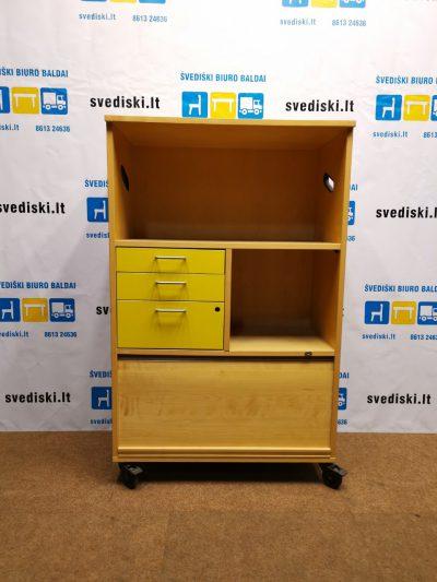 Beržo Spintelė Su 3 Geltonais Stalčiais Ir Ratukais, Švedija