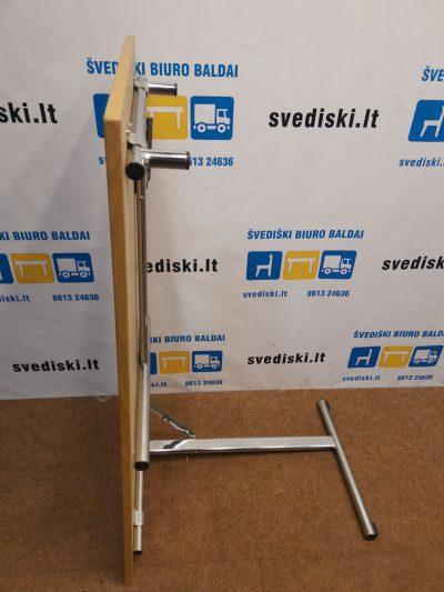 120*60cm Ąžuolo Lukšto Sulankstomas Stalas Su Chromuotomis Kojomis, Švedija