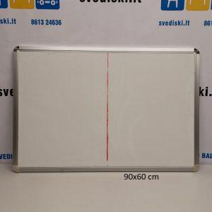 Švediški lt. Balta Magnetinė Lenta Su Aliuminiu Rėmu 90x60 cm, Švedija