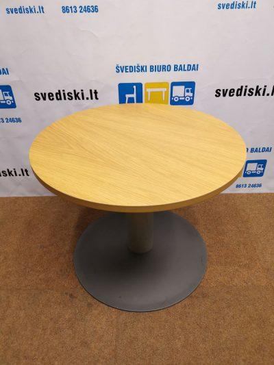 Apvalus Stalas Su Ąžuolo Lukštu Ir Metaline Koja, Švedija
