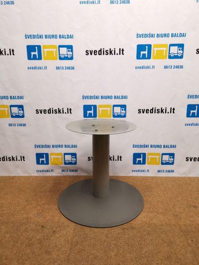 Švediški lt. Apvalus Stalas Su Ąžuolo Lukštu Ir Metaline Koja, Švedija