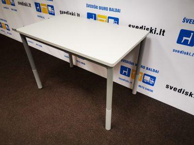Švediški lt. pilkas stalas su užapvalintais kampais ir reguliuojamo aukščio kojomis Švediški