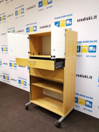 Švediški.lt Kinnarsp Buko Rakinama Spintelė Su Baltai Tonuotu Stiklu, Švedija
