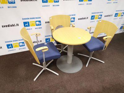 Kinnarps Komplektas Su 3 Yin Kėdemis Ir Apvaliu Stalu, Švedija