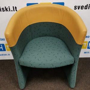 Švediški.lt Kinnarps Žalias Fotelis Su Ruda Natūralia Oda, Švedija