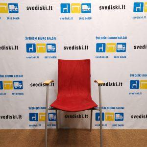 Švediški.lt Kinnarps Citra Lankytojo Kėdė Su Raudonu Gobelenu, Švedija