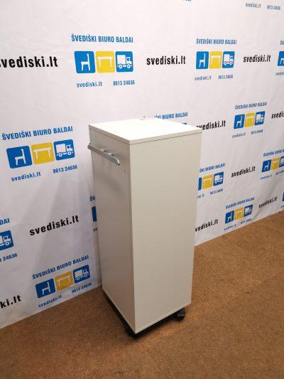 Švediški.lt Balta Biuro Spintelė Su Dviem Stalčiais Ir Atvira Dalimi Ant Ratuku, Švedija