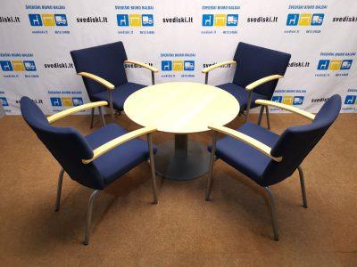 EFG Tamsiai Mėlyna Lankytojo Kėdė Su Beržo Porankiais, Švedija