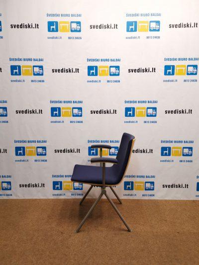 Švediški.lt EFG AVIA Tamsiai Mėlyna Lankytojo Kėdė Su Beržo Nugara, Švedija