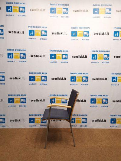 Švediški.lt Lammhults Pilkšva Lankytojo Kėdė Su Buko Porankiais, Švedija