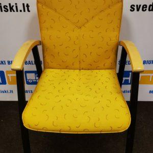 Švediški.lt Kinnarps ARCUS Geltono Audinio Kėdė Su Beržo Porankiais, Švedija