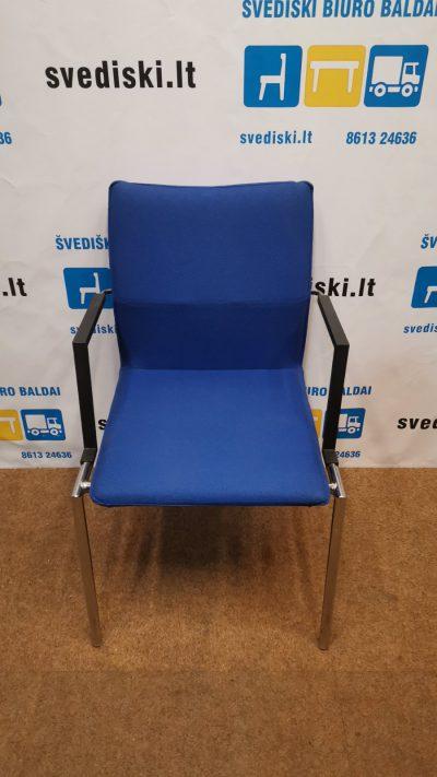 Švediški.lt Mėlyna Lankytojo Kėdė Su Chromo Rėmu, Švedija