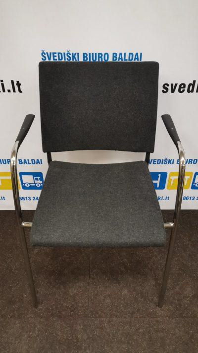 Švediški.lt Tamsiai Pilka Lankytojo Kėdė Su Chromo Rėmu, Švedija