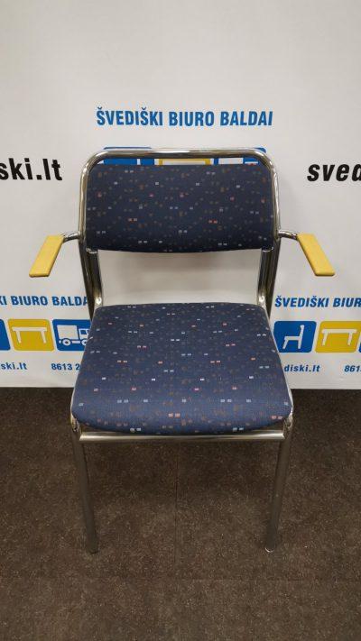 Mėlyna Lankytojo Kėdė Su Chromuotu Rėmu Ir Buko Porankiais, Švedija