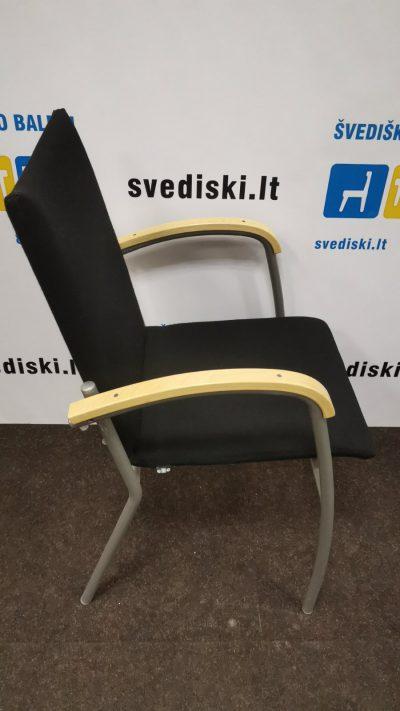 Švediški.lt EFG Juoda Lankytojo Kėdė Su Beržo Porankiais, Švedija