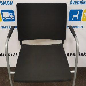 Švediški.lt Lammhults Juoda Lankytojo Kėdė Su Pilku Rėmu Ir Porankiais, Švedija
