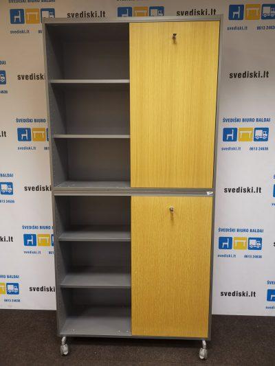Švediški.lt Martela Ąžuolo Spinta Su Pilku Rėmu Ir Stumdomomis Durimis, Švedija