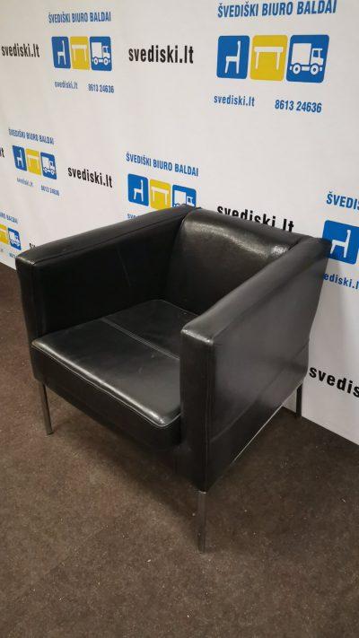 Švedija.lt Ikea Juodas Natūralios Odos Fotelis Su Chromo Kojomis, Švedija