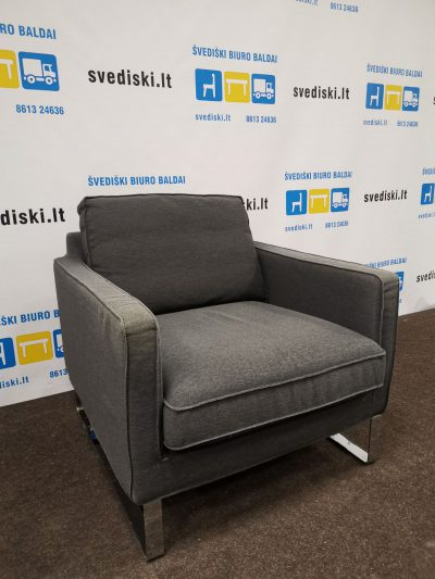 Švediški.lt Ikea Carb Pilkas Fotelis Su Chromo Kojomis, Švedija