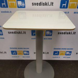 Švediški.lt Baro Stalas Ant Vienos Pilkos Kojos Su Baltu Stalviršiu, Švedija