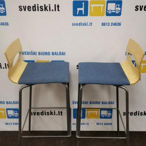 Svediki.lt 2 KLAESSONS MOBLER AB Mėlynos Baro Kėdės Su Beržo Nugaros Atramomis, Švedija