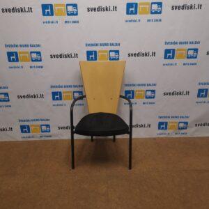 Kinnarps ARI Beržo Lankytojo Kėdė Su Juodu Alcantaro Audiniu, Švedija