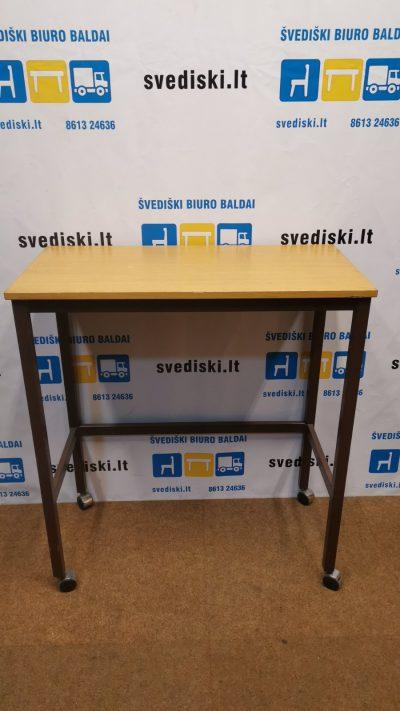 Svediski.lt Ąžuolo Aukštas Darbo Stalas Su Ratukais, Švedija
