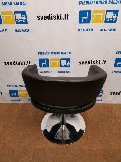svediski.lt Juodos Dirbtinės Odos Fotelis Su Chromuota Koja, Švedija