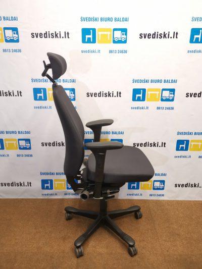 Kinnarps 9000 Tamsiai Pilka Biuro Kėdė Su Galvos Atrama Ir Porankiais, Švedija