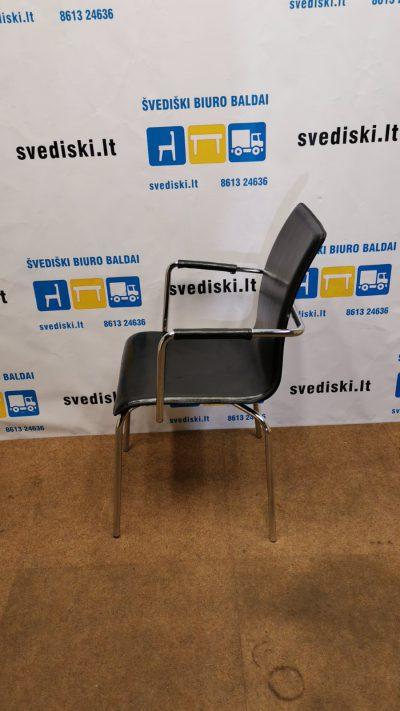Juoda Lankytojo Kėdė Su Eko Oda Ir Porankiais, Švedija