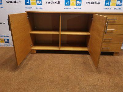 Ąžuolo Spintelė Su 4 Stalčiais Ir Uždaroma Dalimi, Švedija