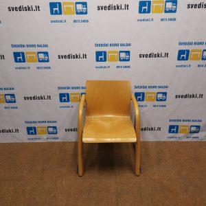 Thonet Kėdė Su Porankiais Ir Mėlynu Metaliniu Rėmu, Švedija