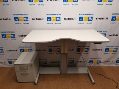 Komplektas Swedstyle Elektra Reguliuojamas Stalas Su 160x85cm Pilku Stalviršiu+Pilkas Stalčių Blokas, Švedija