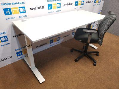 OKA Mechaniškai Reguliuojamo Aukščio Stalas Su Baltu 180x80cm Stalviršiu, Švedija