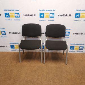 2 x Juodos Lankytojo Kėdės Su Pilku Rėmu, Švedija