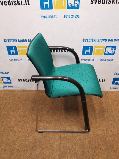 Thonet Kėdė Su Žaliu Audiniu Ir Metaliniu Rėmu, Švedija