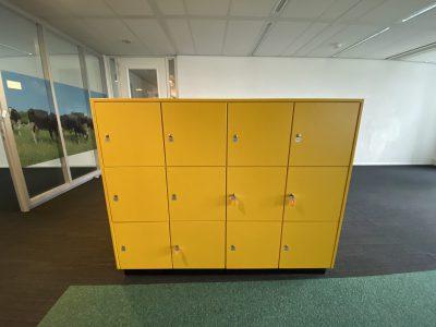 Geltona Dviguba Daiktų Saugojimo Spinta Su 24 Rakinamais Skyriais, Švedija