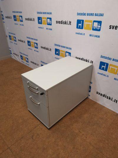 Pilkas Stalčių Blokas Su 3 Rakinamais Stalčiais Ir 80cm Gylio, Švedija