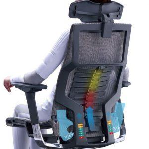 Juoda Ergonomiška Biuro Kėdė Su 5D Galvos Atrama Ir 3D Porankiais, Nauja