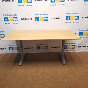 Ikea Galant Mechaniškai Reguliuojamas Stalas Su Ąžuolo 160x80cm Stalviršiu, Švedija