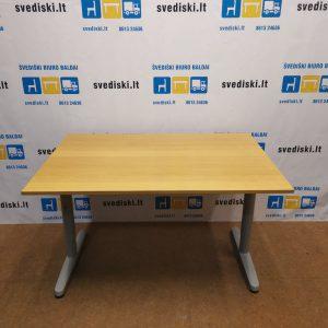 Ikea Galant Mechaniškai Reguliuojamas Stalas Su Ąžuolo 120x60cm Stalviršiu, Švedija