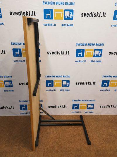 Sulankstomas Stalas Su Beržo 140x60cm Stalviršiu Ir Juodomis Kojomis, Švedija