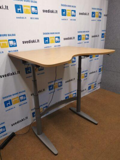 EFG Elektra Reguliuojamas Pilkas Stalas Su Ąžuolo 120x100cm Stalviršiu, Švedija