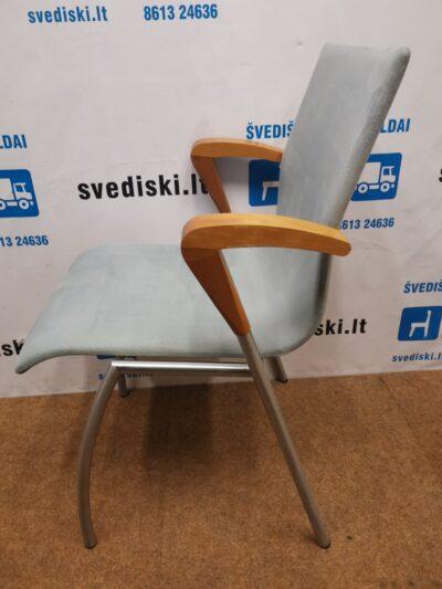 Kvist Kėdė Su Pilku Alcantaros Audiniu Ir Beicuotais Porankiais, Danija