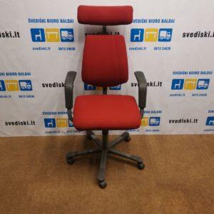 HAG Credo Raudona Biuro Kėdė Su Galvos Atrama Ir Porankiais, Švedija