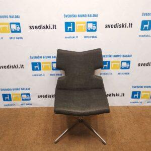 Swedese Tamsiai Pilkas Fotelis Su Chromuotu Pagrindu, Švedija