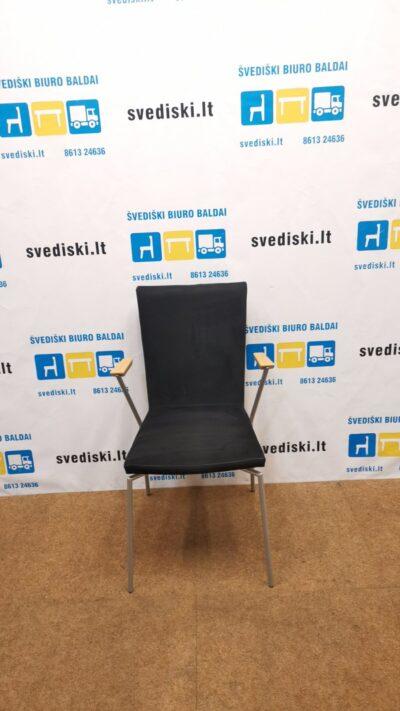 Mod Art Design Kėdė Su Juoda Alcantara Ir Buko Porankiais, Švedija