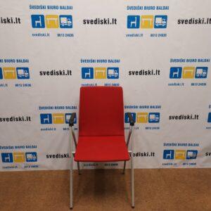 Isku Rudolf Raudona Lankytojo kėdė Su Pilku Rėmu Ir Porankiais, Švedija